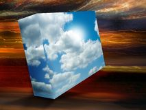 Sky box. A bight blue sky box floats in an abstract blurred background. Add your own copy and text. Abstract for positives and changes. Also could be used for royalty free illustration