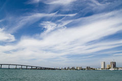 Sky Bridge. A South Florida intracoastal waterway framed by a magnificent sky Royalty Free Stock Photography