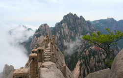 Sky Bridge. Breathtaking sky bridge on the peak of Huang Mountain Stock Images