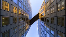 Sky Bridge between Offices building. Sky Bridge connect building between modern glass and mirror of office buildings abstract
