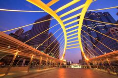 Sky bridge at Sathon junction, Bangkok,Thailand Royalty Free Stock Photography