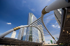 Sky bridge at Sathon junction, Bangkok,Thailand Stock Photo