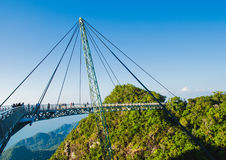 Sky bridge symbol Langkawi island. Adventure holiday. Modern construction. Tourist attraction. Travel concept. Stock Photos