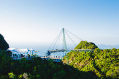 Sky bridge, view from cable car, Langkawi Malaysia. Tourist attraction, travel and vacation concept. Copy space Royalty Free Stock Photo
