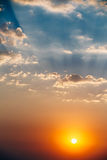 Sky, Bright Blue, Orange And Yellow Colors Sun. Sunset Sunrise With Clouds. Instant Photo, Toned Image royalty free stock images