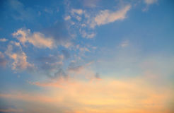 Sky, Bright Blue, Orange And Yellow Colors Sunset. Instant Photo Royalty Free Stock Photography
