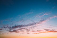 Sky, Bright Blue, Orange And Yellow Colors Sunset Stock Image