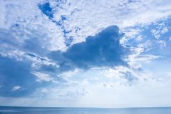Bright sky on the blue sea. The sky is bright on the blue sea on a beautiful blue day Stock Images