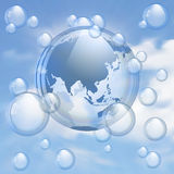 Sky and bubbles background Stock Photography