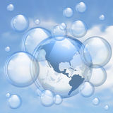 Sky and bubbles background Royalty Free Stock Image