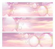 Sky and bubbles banners Royalty Free Stock Images