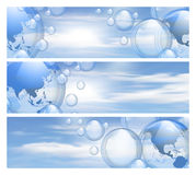 Sky and bubbles banners Royalty Free Stock Photo
