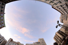 Sky between building, fisheye lens Stock Images