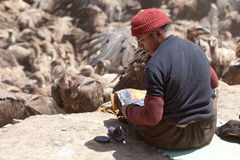 Sky burial. Is to put the dead body to feed the eagle. The eagle fly in the sky after eating, the Tibetans believe that the deceased enter heaven. After death Stock Photography