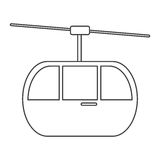 Sky cable car transport mountain thin line Stock Photo