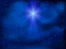 Sky and Christmas star. Shining Christmas star in the night sky, illustration Royalty Free Stock Photos