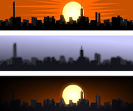 Sky city. Three creative designs of cities Royalty Free Stock Images