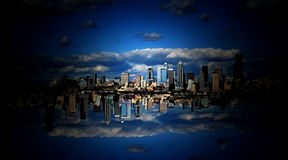 Sky City in the Clouds. Is an abstract background created from part of the Seattle Washington skyline Stock Photos