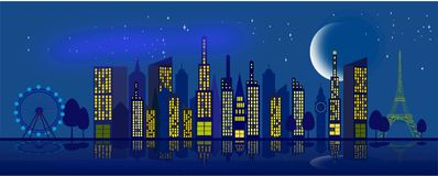 Sky in the city at night with the moon and stars royalty free illustration