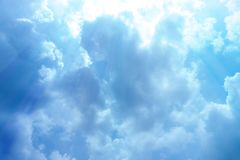 The sky on a clear day. The sky background on a clear day, cloudy, covered with blue and white stock image