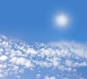 Sky with cloud. Blue sky and cloud with bright sun star flare background Royalty Free Stock Images