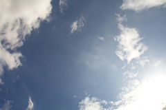 Sky and cloud. Blue sky with clouds and sun reflection in water with place for your text Stock Photography