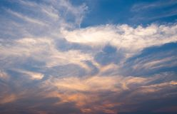 Sky with cloud on evening day stock photos