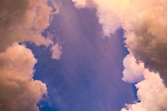 Sky cloud gold with blue wonderful Royalty Free Stock Image