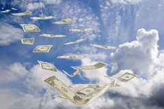 Sky, cloud and money way to success. There are blue sky with clouds and euro money royalty free stock images