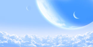 Sky with cloud and planets Royalty Free Stock Photography