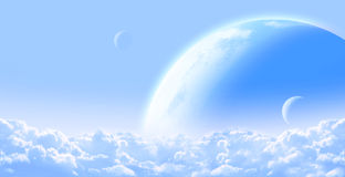 Sky with cloud and planets Royalty Free Stock Photo