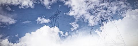Composite image of sky and cloud on a sunny day. Sky and cloud on a sunny day against the evening electricity pylon silhouette stock photography
