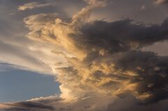 Sky, Cloud, Sunset, Grey, Golden Royalty Free Stock Photos
