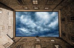 Sky, Cloud, Wall, Window Royalty Free Stock Images