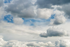 The sky with clouds. The blue sky with scattering white clouds Royalty Free Stock Images