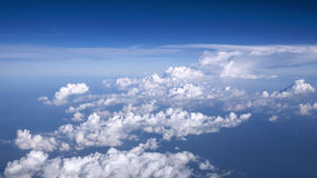 Sky and clouds. Blue sky with clouds from the plane Royalty Free Stock Photos