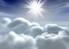 Sky & clouds. Above volumetric clouds (the top view of clouds) with the bright sun Stock Images