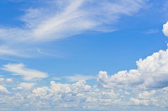 Sky and clouds. Blue sky with white clouds in the summer Royalty Free Stock Photo