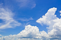 Sky and clouds. Blue sky with white clouds in the summer Royalty Free Stock Photography