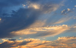 Sky with clouds. A dramatic cloudy sky before sun set Stock Photos