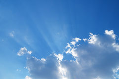 Sky with clouds. Sky with sun coming through the cloud Stock Photo