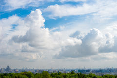 Sky with clouds above the city. MOSCOW, RUSSIA - MAY 26, 2017: Beautiful and large sky with clouds above the city center, Moscow Royalty Free Stock Photos