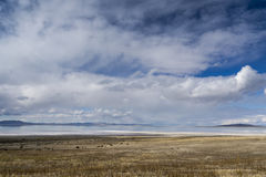 Sky and Clouds above Great Salt Lake. The ski reflected in the Great Salt Lake, Utah Stock Image