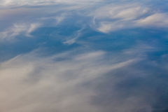 Sky and clouds from above. Horizontal picture of clouds in the sky seen from above Stock Image