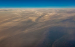 Sky and clouds from above. Horizontal picture of clouds in the sky seen from aboven Stock Photo