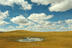 Sky and clouds above the plateau. Sky and clouds above the field with pond. shot at Tibetan plateau Royalty Free Stock Photos