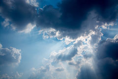 The sky before the clouds awesome. A stray beam of light shone. Down look beautiful Royalty Free Stock Photos