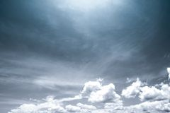 Sky and clouds background. Black and white scene of sky and clouds background Stock Photos