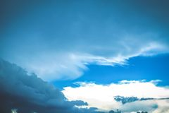 Sky clouds background. Blue summer clam relief. Stress concept idea royalty free stock photos
