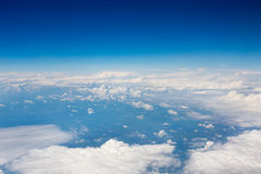 Sky and clouds background. Top view of the plane Royalty Free Stock Image